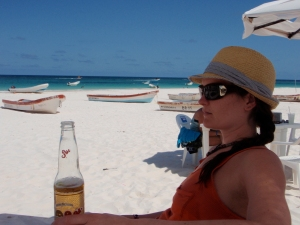 Beach beers at Playa Tulum - Tulum Mexico