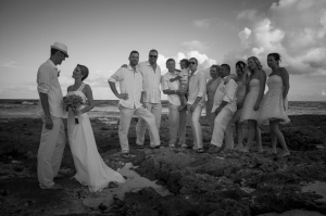 wedding party bw