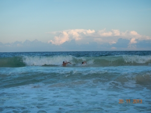 Body surfing at Boca Pila in the Sian Ka'an