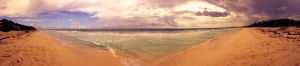 A neat effect from a panoramic shot of the beach past Boca Pila